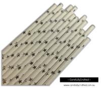 25 Paper Straws - Silver Foil Stars - #PS41