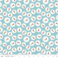 Riley Blake Fabric - Sew Cherry 2 - Lori Holt - Aqua #C5802