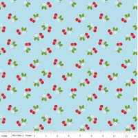 Riley Blake Fabric - Sew Cherry 2 - Lori Holt - Aqua #C5804