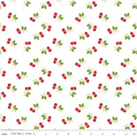 Riley Blake Fabric - Sew Cherry 2 - Lori Holt - White #C5804