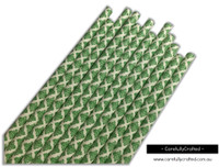 25 Paper Straws - Kelly Green Demask - #PS49
