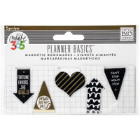 Create 365 - Me and My Big Ideas - Magnetic Bookmarks - Black, White and Gold - 5 Pack