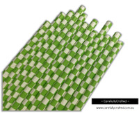25 Paper Straws - Lime Green Checkerboard - #PS51