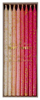 Meri Meri - Pink Glitter Candles - Pk24