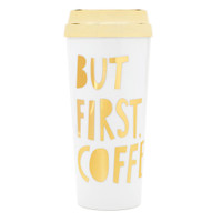 Bando - Hot Stuff Thermal Mug - But First, Coffee - Metallic Gold