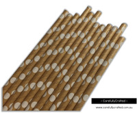 25 Paper Straws - Kraft Polka Dot - #PS69