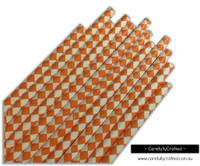 25 Paper Straws - Orange Diamonds - #PS74