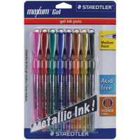 Staedtler - Maxum Gel Metallic Pens - Medium Point - Set of 8