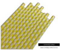 25 Paper Straws - Yellow Checkerboard - #PS75
