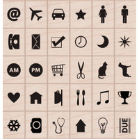 "Planner Icon Stamps - Hero Arts Mounted Rubber Stamp Set 3""x 3"""