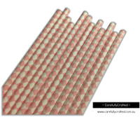 25 Paper Straws - Light Pink Diamonds - #PS76