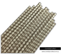 25 Paper Straws - Grey Diamonds- #PS80