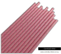 25 Paper Straws - Pink Bamboo - #PS85