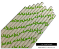 25 Paper Straws - Lime Green Bunting - #PS88