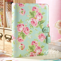 Webster's Pages - Color Crush - A5 Faux Leather Planner - Mint Floral - Binder Only