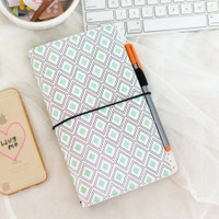 Freckled Fawn - PocketStyle Traveler's Notebook - Mint Diamond Geometric - Standard