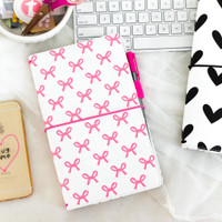 Freckled Fawn - PocketStyle Traveler's Notebook - Pink Bows - Standard