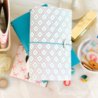 Freckled Fawn - Sleek Traveler's Notebook - Mint Diamond Geometric - Standard