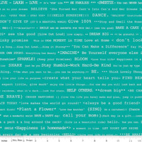 Riley Blake Fabric - Bee Basics - Lori Holt - Happy Text Teal #C6402-TEAL