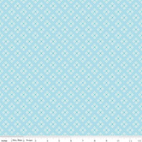 Riley Blake Fabric - Bee Basics - Lori Holt - Stitched Flower Aqua #C6409-AQUA