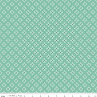 Riley Blake Fabric - Bee Basics - Lori Holt - Stitched Flower Teal #C6409-TEAL