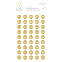Studio Calico - Seven Paper Amelia Foil Stickers - Gold Numbers