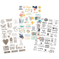 Simple Stories - Carpe Diem - Posh Clear Stickers - Color, Gray & Foil