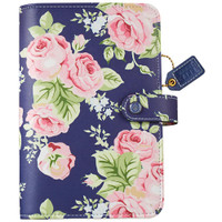 Webster's Pages - Color Crush - Faux Leather Personal Planner Binder - Navy Floral - Binder Only