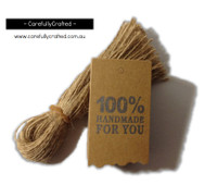 25 Kraft Gift Tag - 100% Handmade for You #GT18