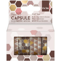 Docrafts - Papermania Geometric Mocha Washi Tape - Set of 4