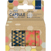 Docrafts - Papermania Geometric Kraft Washi Tape - Set of 4