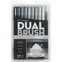 Tombow Dual Brush Markers - Set of 10 - Grayscale