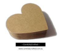 25 Large Kraft Heart Die Cuts