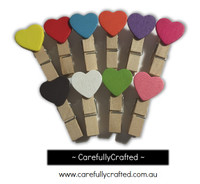 Mini Wooden Heart Pegs - Set of 10 - Rainbow