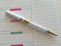 Glitter Pen - Gold Heart - White