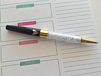 Glitter Pen - Gold Heart - Black