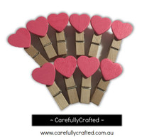 Mini Wooden Heart Pegs - Set of 10 - Pink