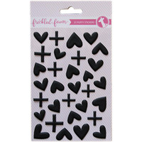 Freckled Fawn - Puffy Stickers - Matte Black Hearts and Signs