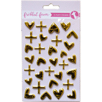 Freckled Fawn - Puffy Stickers - Metallic Gold Hearts and Signs
