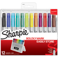 Sharpie Permanent Markers - Ultra Fine Point, Vibrant Colors - Set of 12