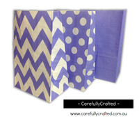 Standing Up Paper Bags - Chevron, Polka Dot, Plain - Purple