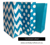 Standing Up Paper Bags - Chevron, Polka Dot, Plain - Dark Aqua