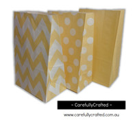 Standing Up Paper Bags - Chevron, Polka Dot, Plain - Ivory