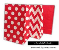 Standing Up Paper Bags - Chevron, Polka Dot, Plain - Red