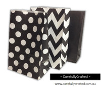 Standing Up Paper Bags - Chevron, Polka Dot, Plain - Black