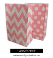 Standing Up Paper Bags - Chevron, Polka Dot, Plain - Light Pink