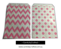 "Mini Favour Paper Bags 4"" x 6"" - Chevron, Polka Dot - Hot Pink"