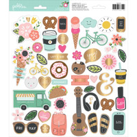 Pebbles - Girl Squad Cardstock Stickers - Icons & Accents with Gold Foil