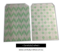 "Mini Favour Paper Bags 4"" x 6"" - Chevron, Polka Dot - Light Green"