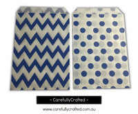 "Mini Favour Paper Bags 4"" x 6"" - Chevron, Polka Dot - Dark Blue"